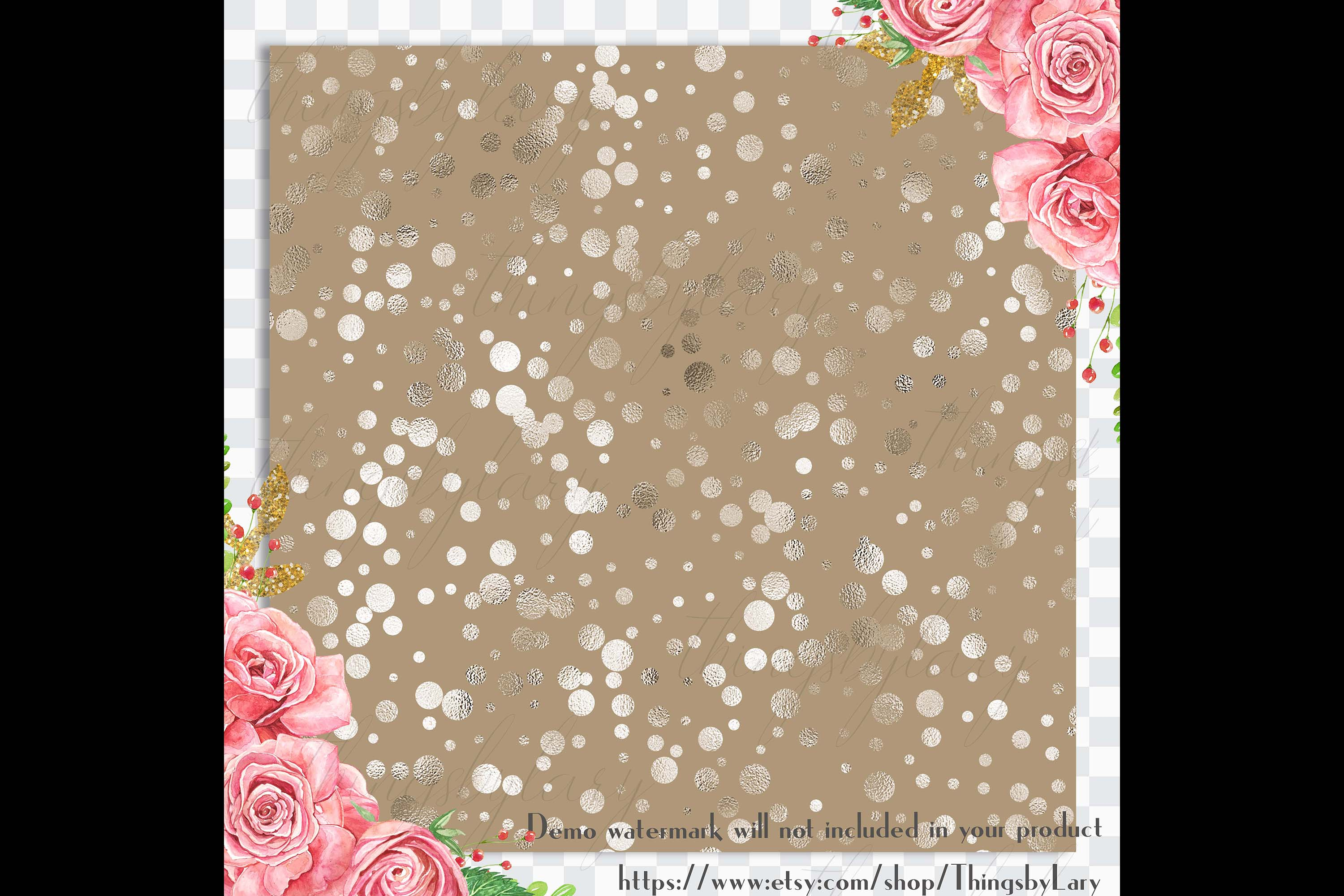 100 Seamless Color Metallic Foil Confetti Digital Papers example image 3