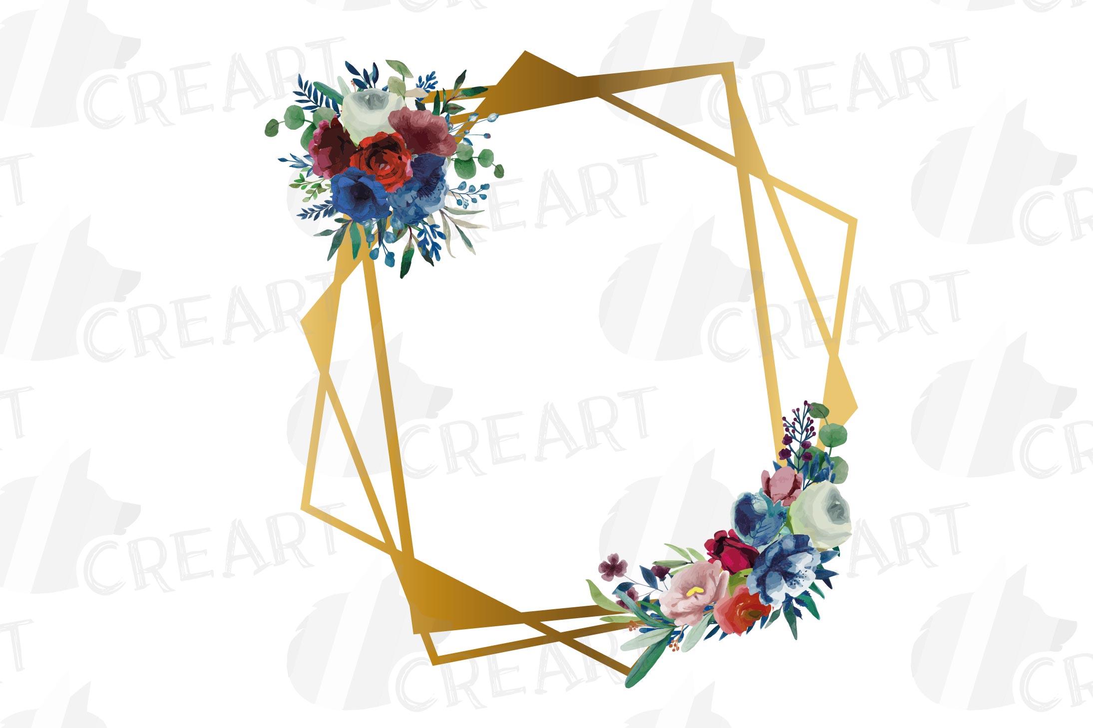 Watercolor elegant floral borders clip art. Wedding frames example image 12