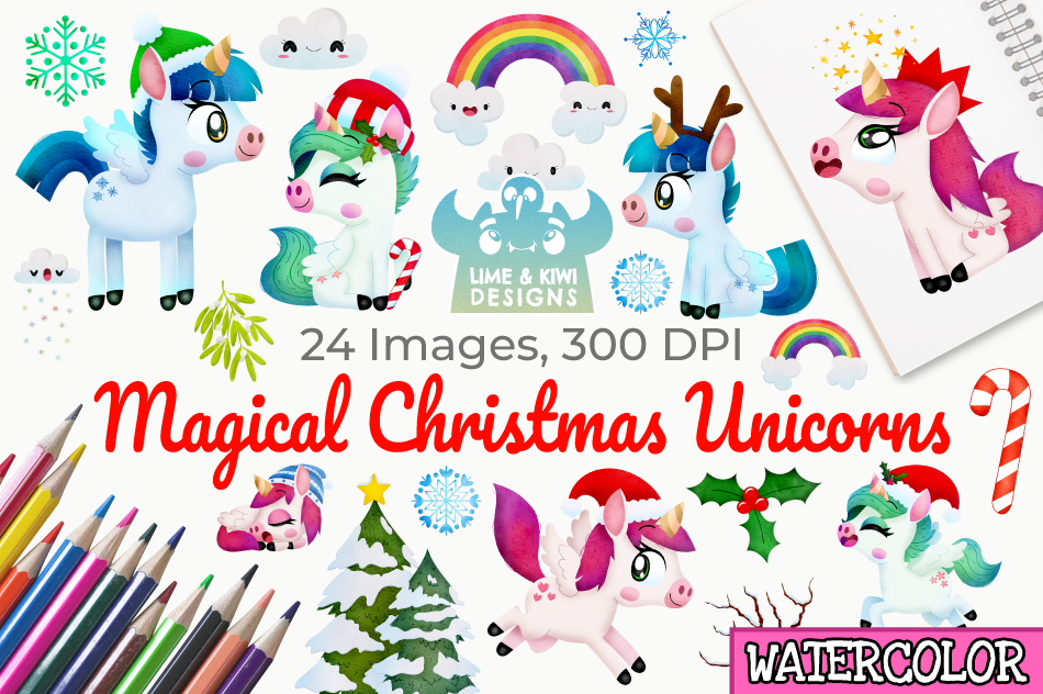 Christmas Unicorns 4 Watercolor Clipart, Instant Download example image 1