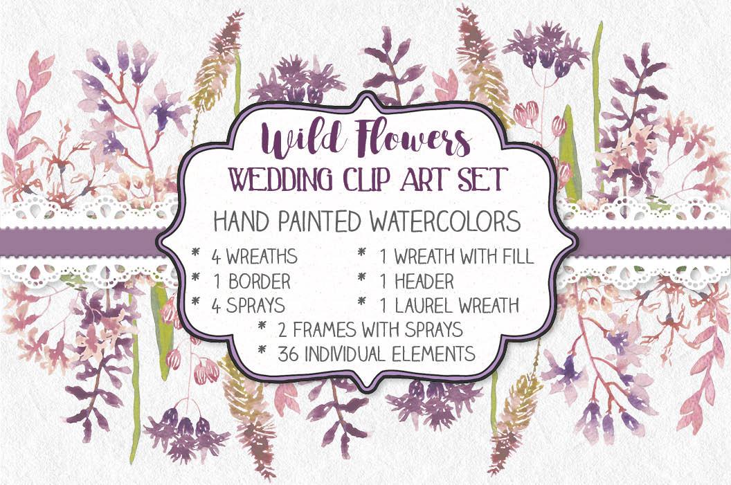 Watercolor clip art bundle: wild flowers example image 1