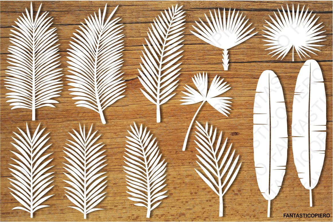 Tropical Leaves set2 SVG files for Silhouette and Cricut. example image 1