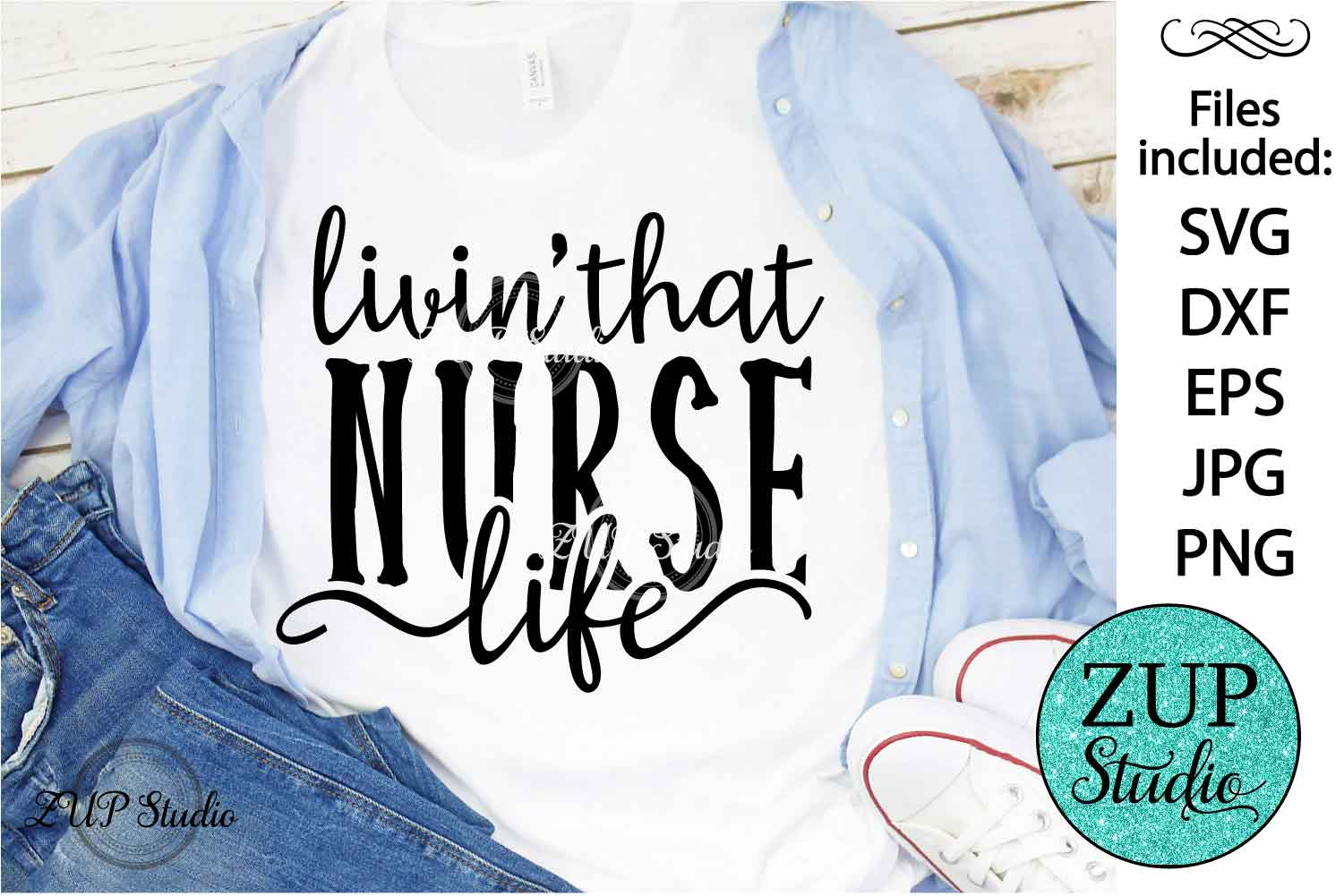Living that nurse life SVG Design Cutting Files 389 example image 1