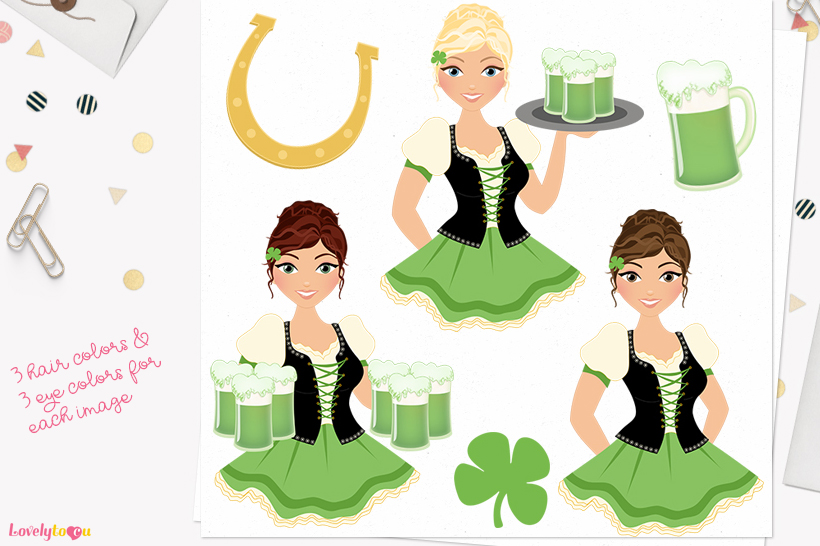 Irish woman character clip art L371 Carly example image 1