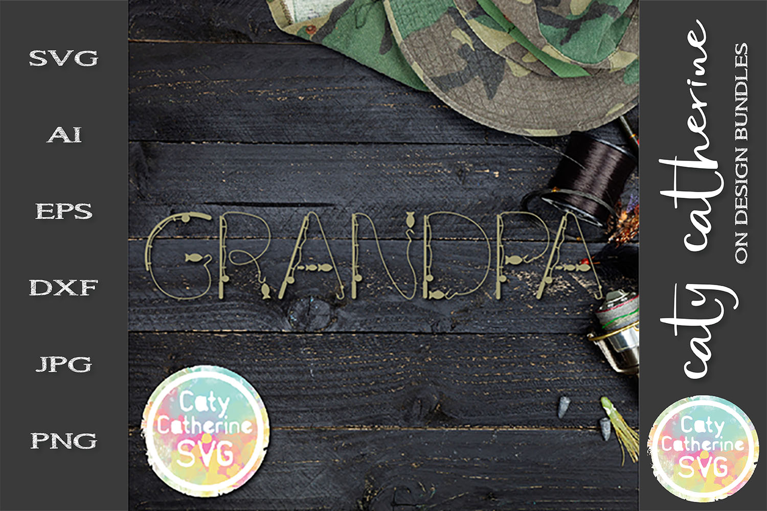 Grandpa Father's Day Fishing Lure Word Art SVG Cut File example image 1