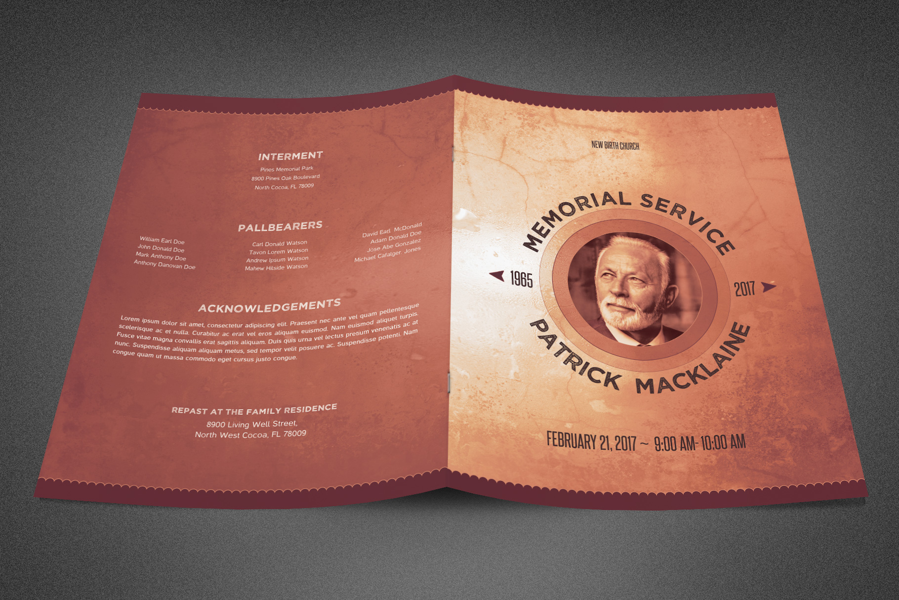 Rustic Funeral Program Template example image 2