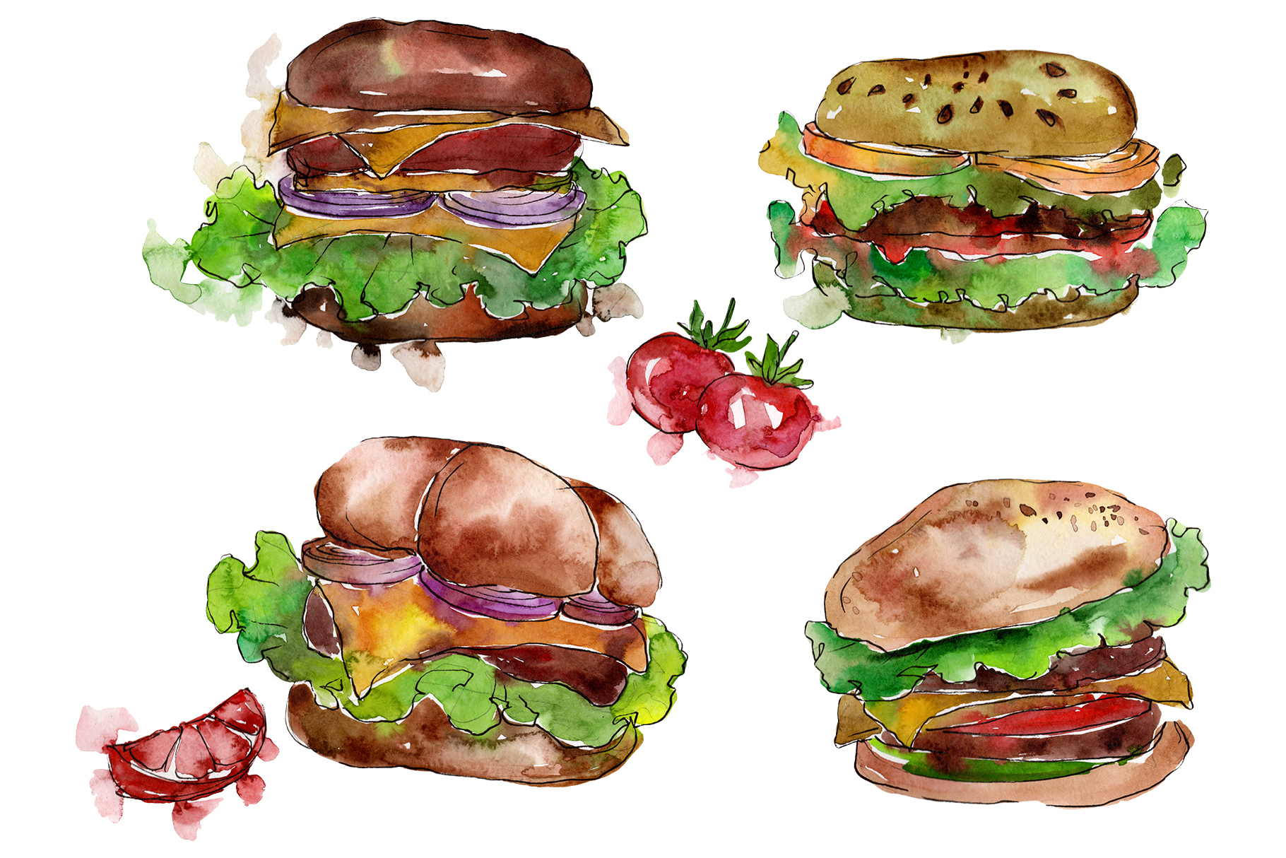 European Hamburger Watercolor png example image 1