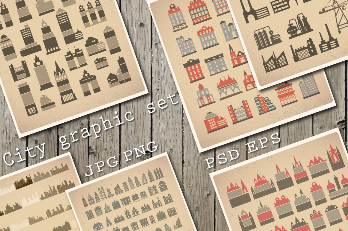 Vector set  house icons, skyscrapers, buildings  example image 1