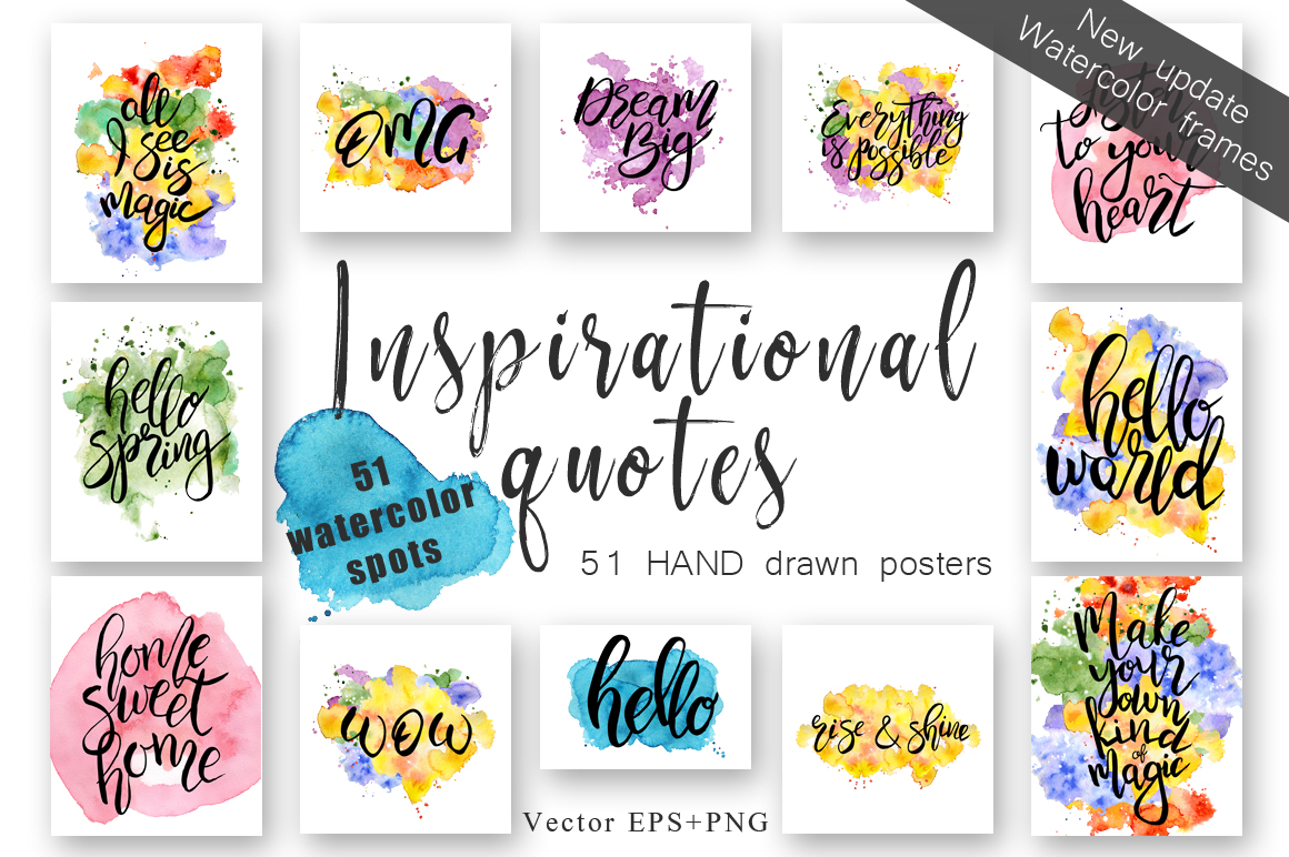 Hand drawn watercolor Inspirational quotes DIY pack example image 1