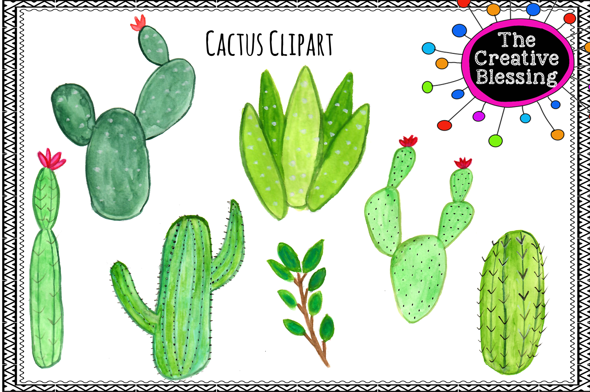 Watercolor Cactus Clipart example image 1