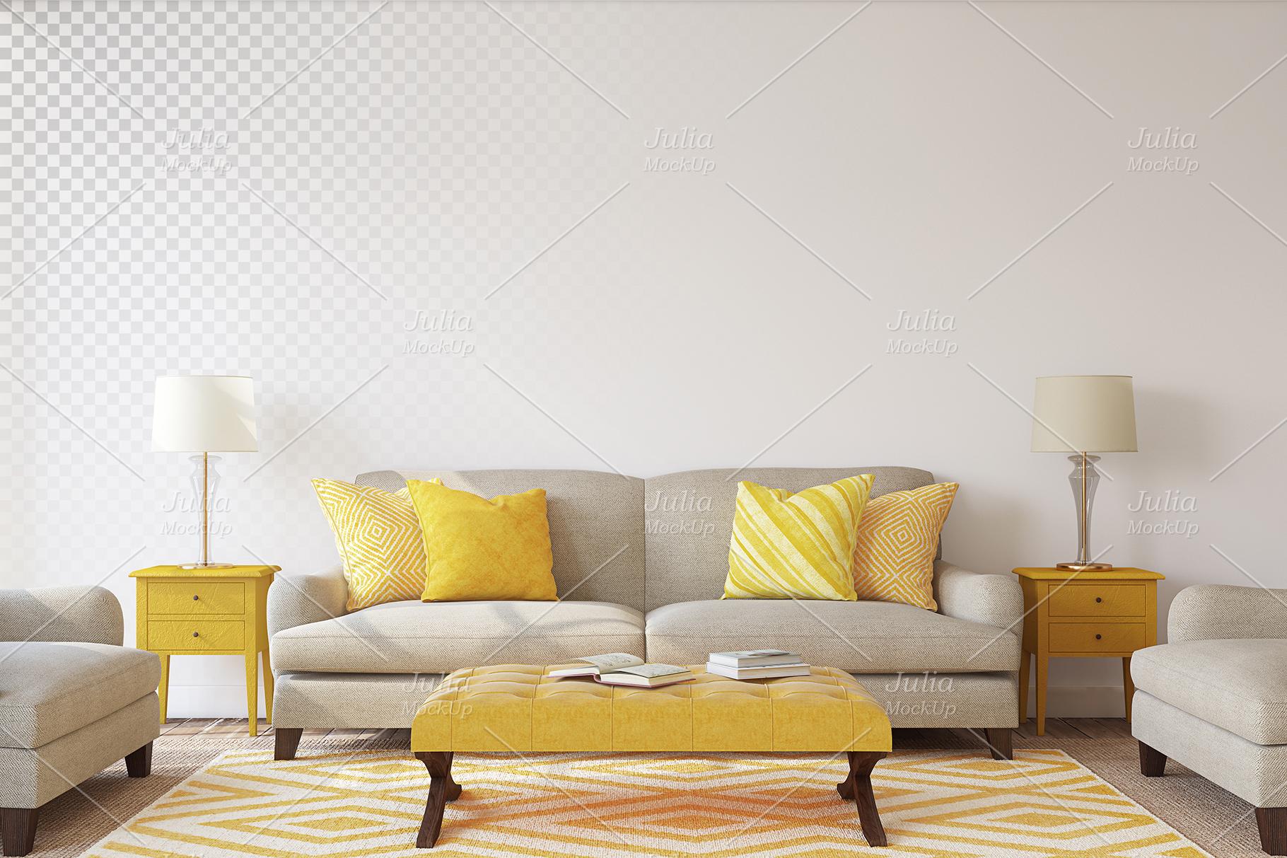 Living-room interiors. Wall&Frames Mockup. example image 10