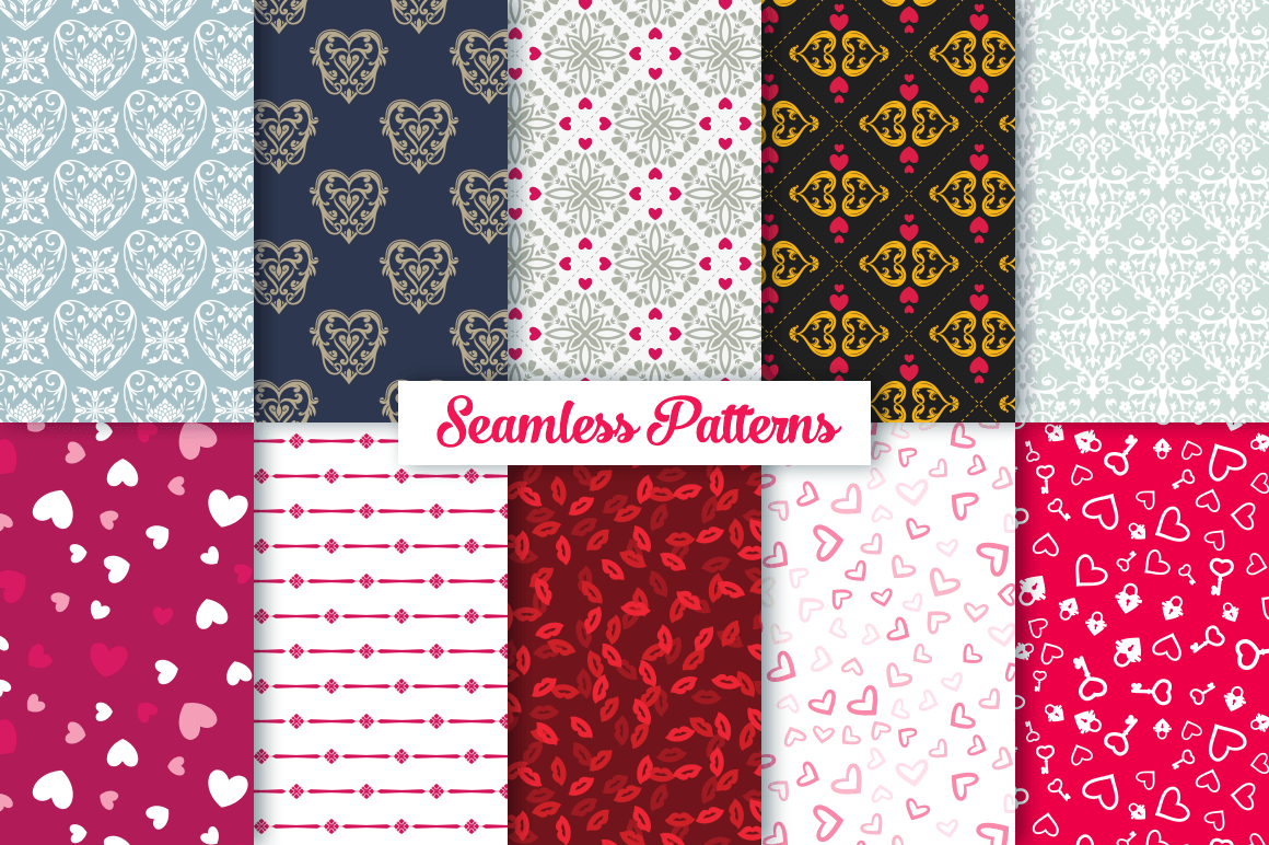 100 Heart Vector Ornaments and Seamless Patterns example image 6