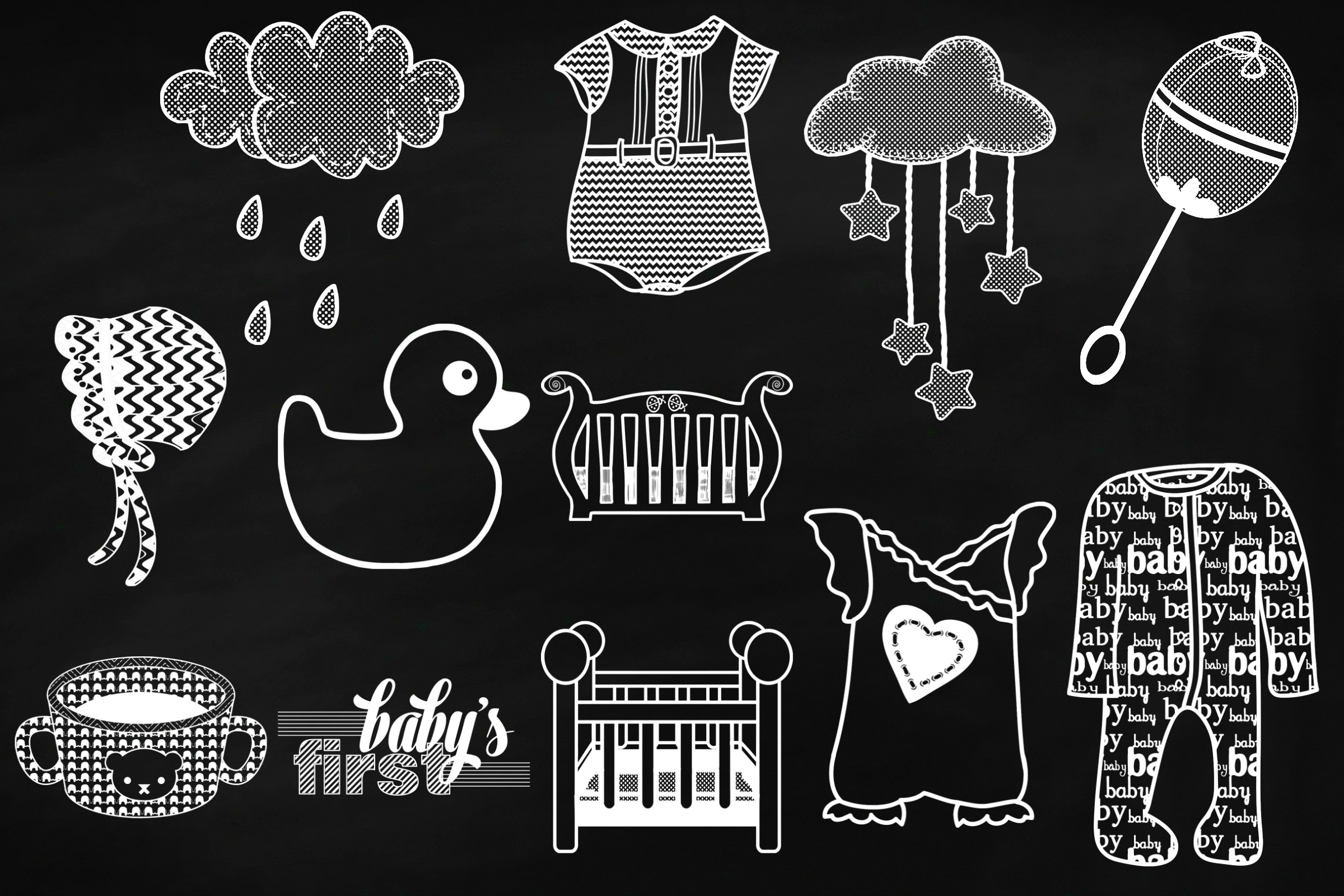 Chalkboard Baby Doodles AI EPS PNG example image 3