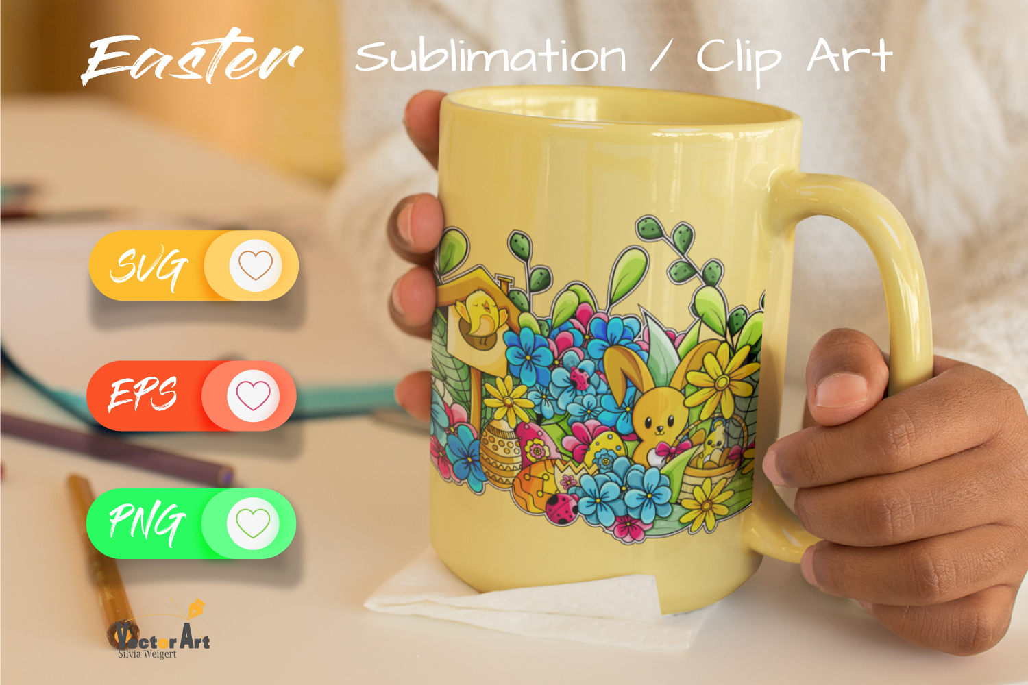 Happy Easter Illustration - Sublimation / Clip Art example image 3