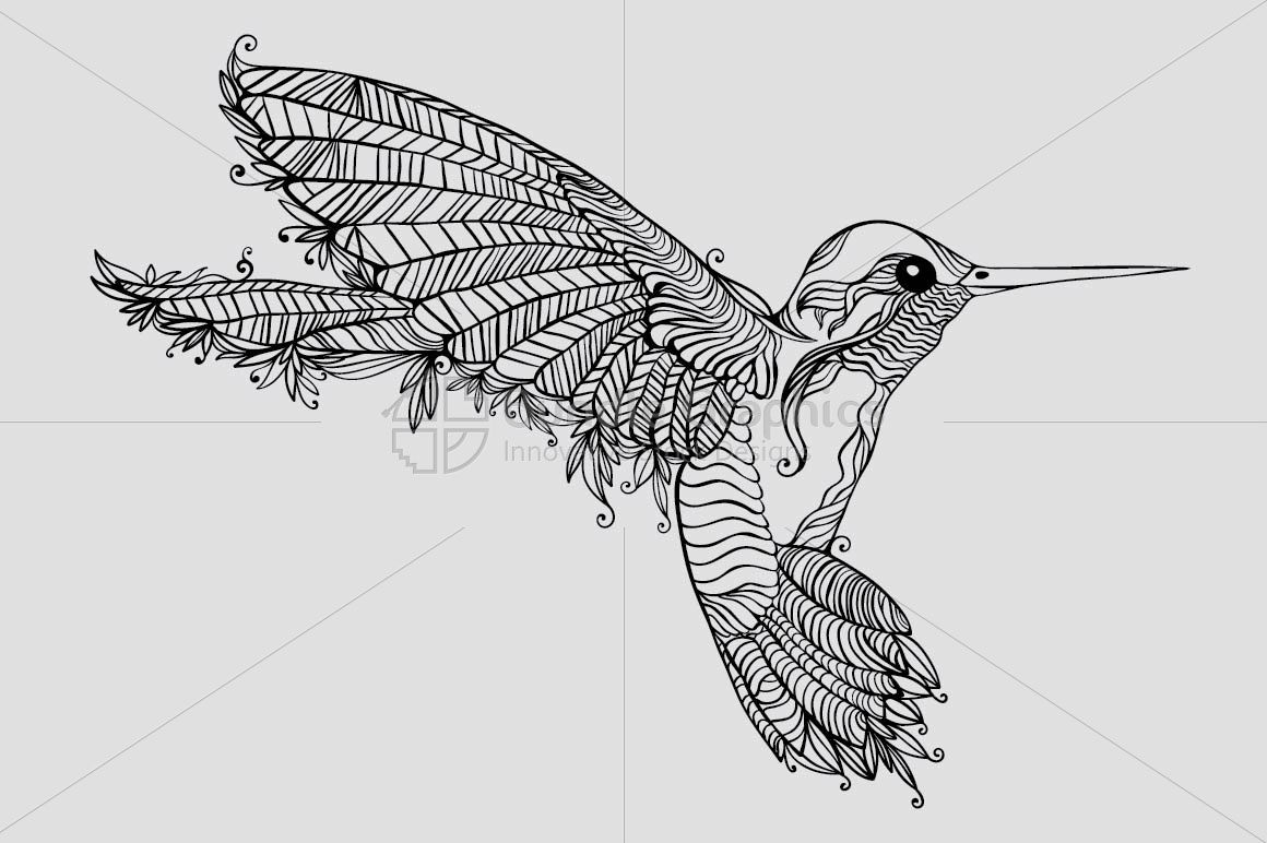 Humming Bird- Creative Linear Graphic example image 2
