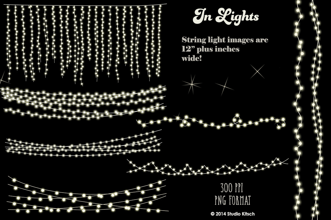 String Lights Clip-Art + Bonus example image 1