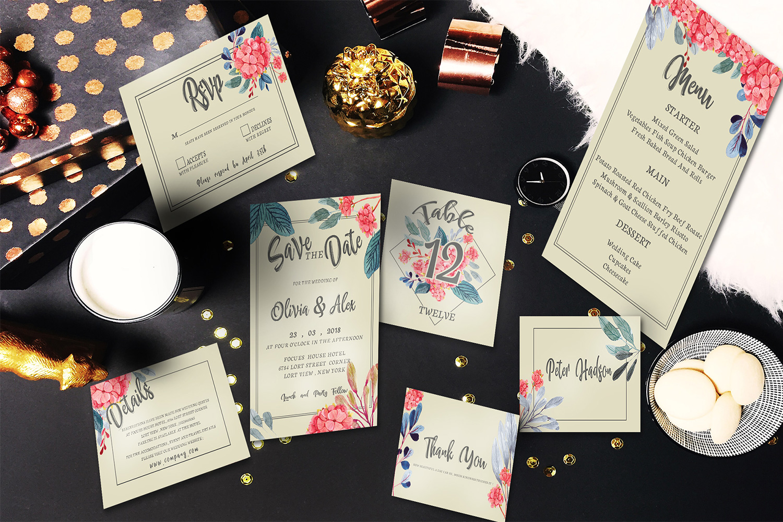 Watercolor flower Wedding invitation set example image 1