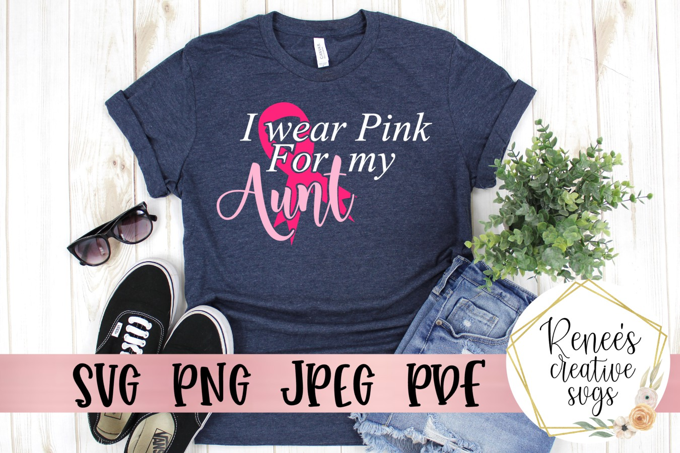 I wear pink for my aunt Breast cancer awareness SVG example image 1