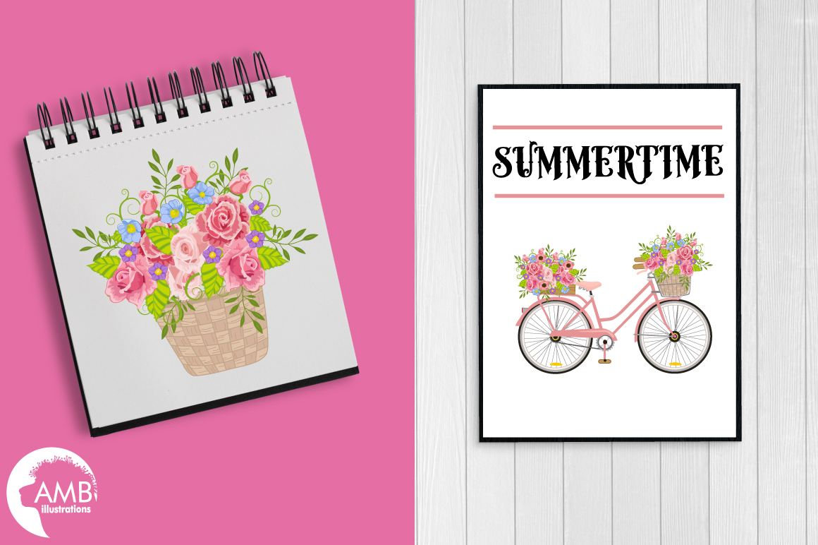 Bicycle in Pink graphics, clipart, illustration AMB-1323 example image 3