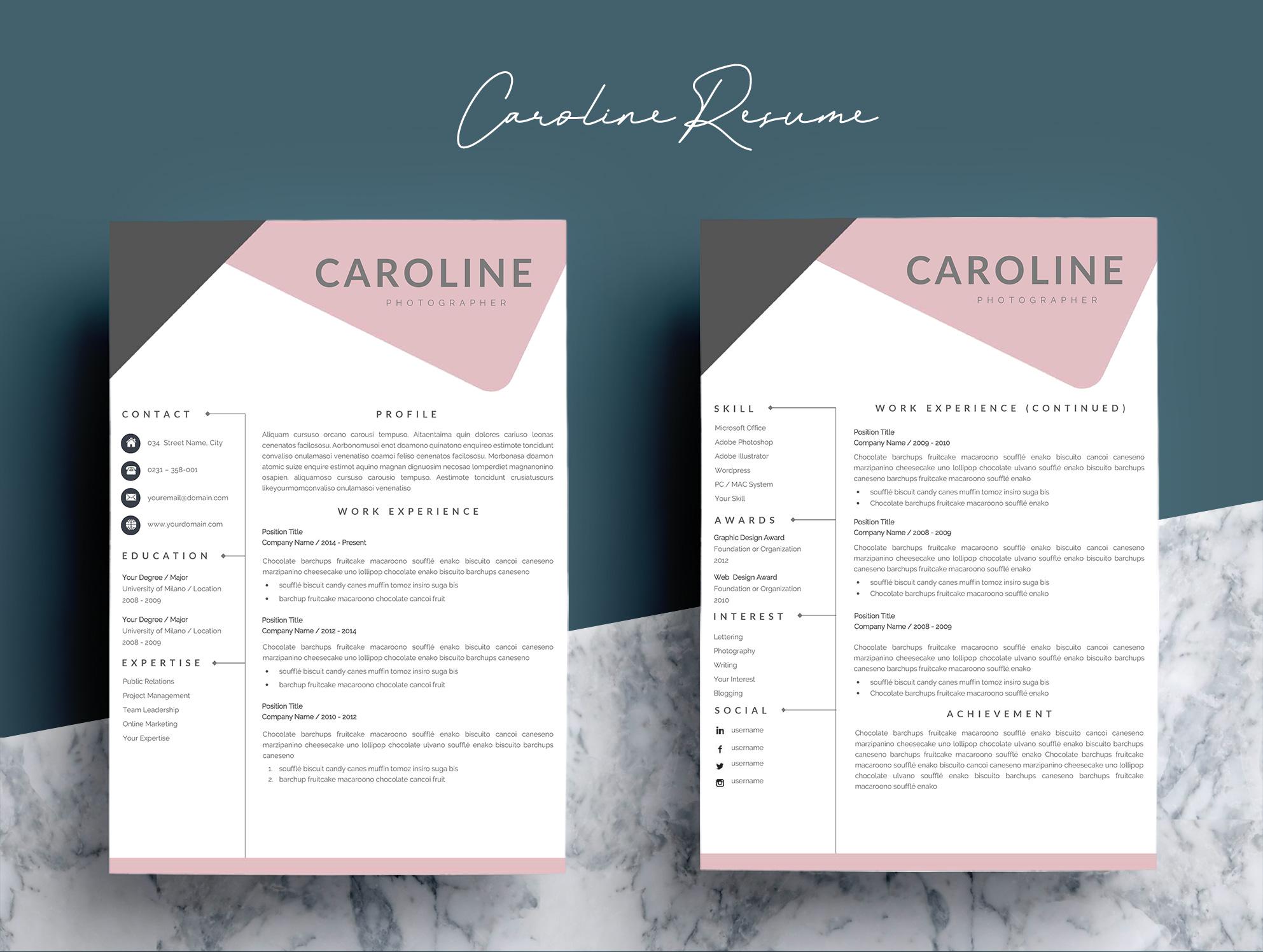 feminime chic resume template