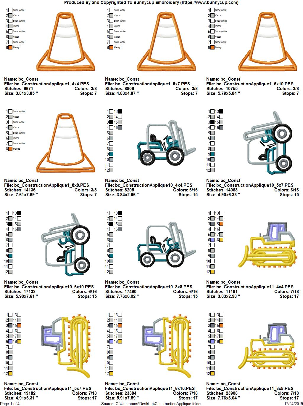Construction Applique 12 Machine Embroidery Designs example image 14