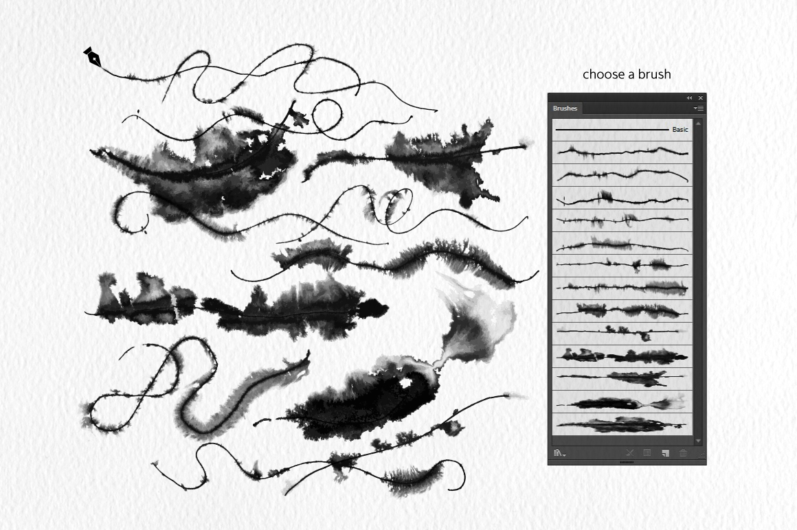 Runny Ink Brushes for Illustrator example image 2