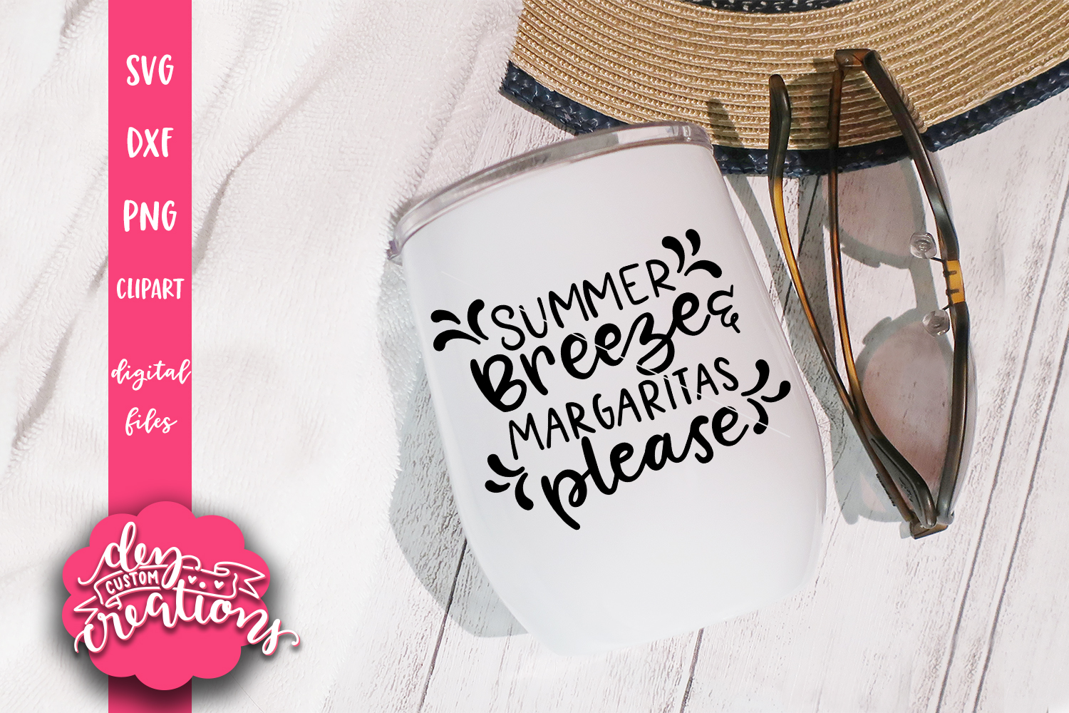 Summer Breeze & Margaritas Please - SVG - DXF - PNG Cut File example image 2