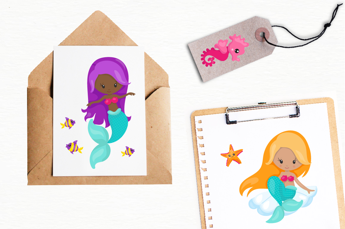Mermaid Vibes graphic and illustrations example image 5