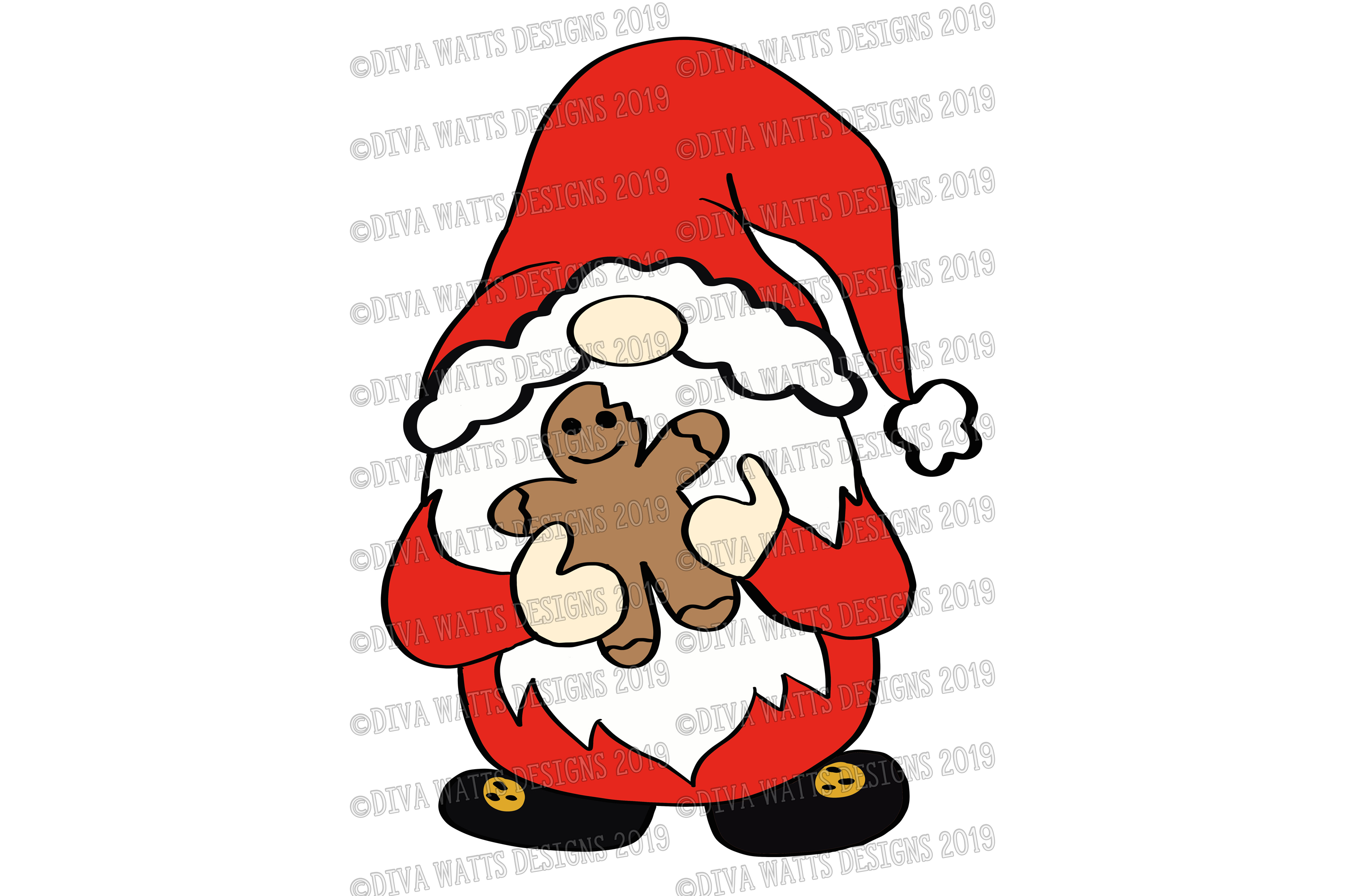 Farmhouse Holiday Gnome Collection SVG DXF & Clipart Set example image 3