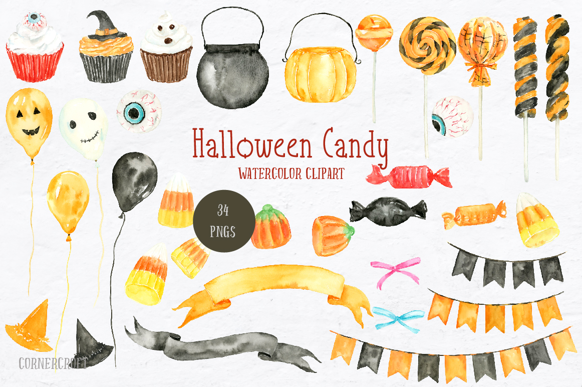 Watercolor Halloween Candy example image 2