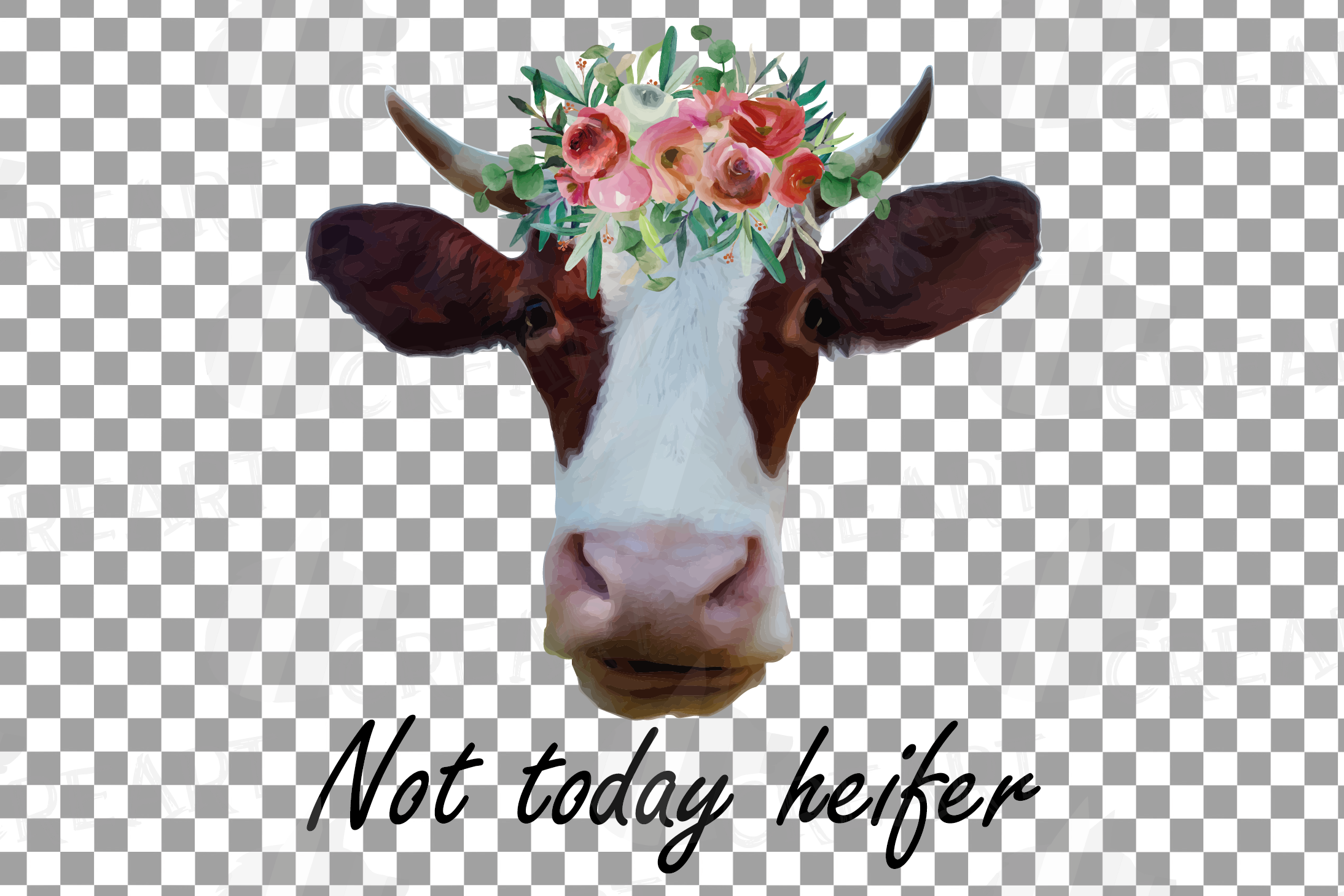 Cows with floral crown clip art. Not today heifer graphic example image 11