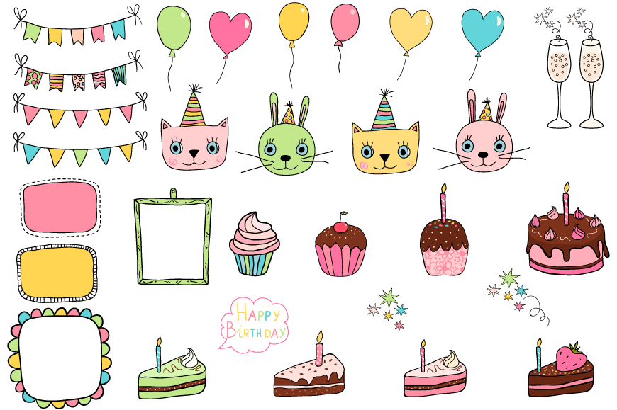 Cute birthday clipart, Party design elements example image 2