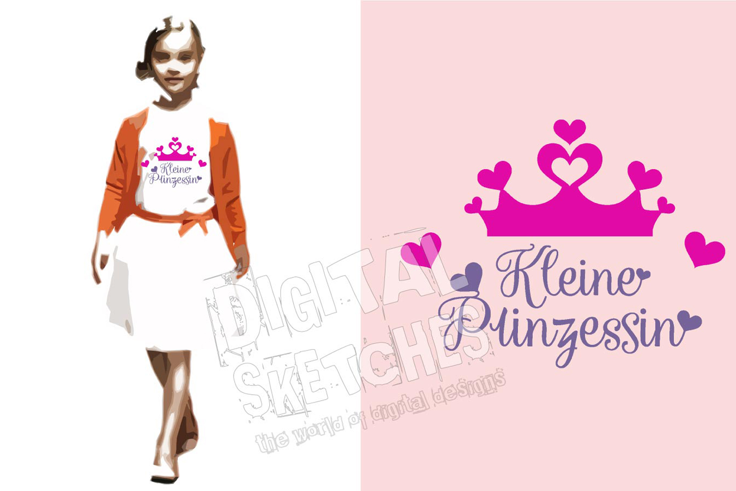 Crown Prinzessin Cut File Vector Graphics Illustration example image 1