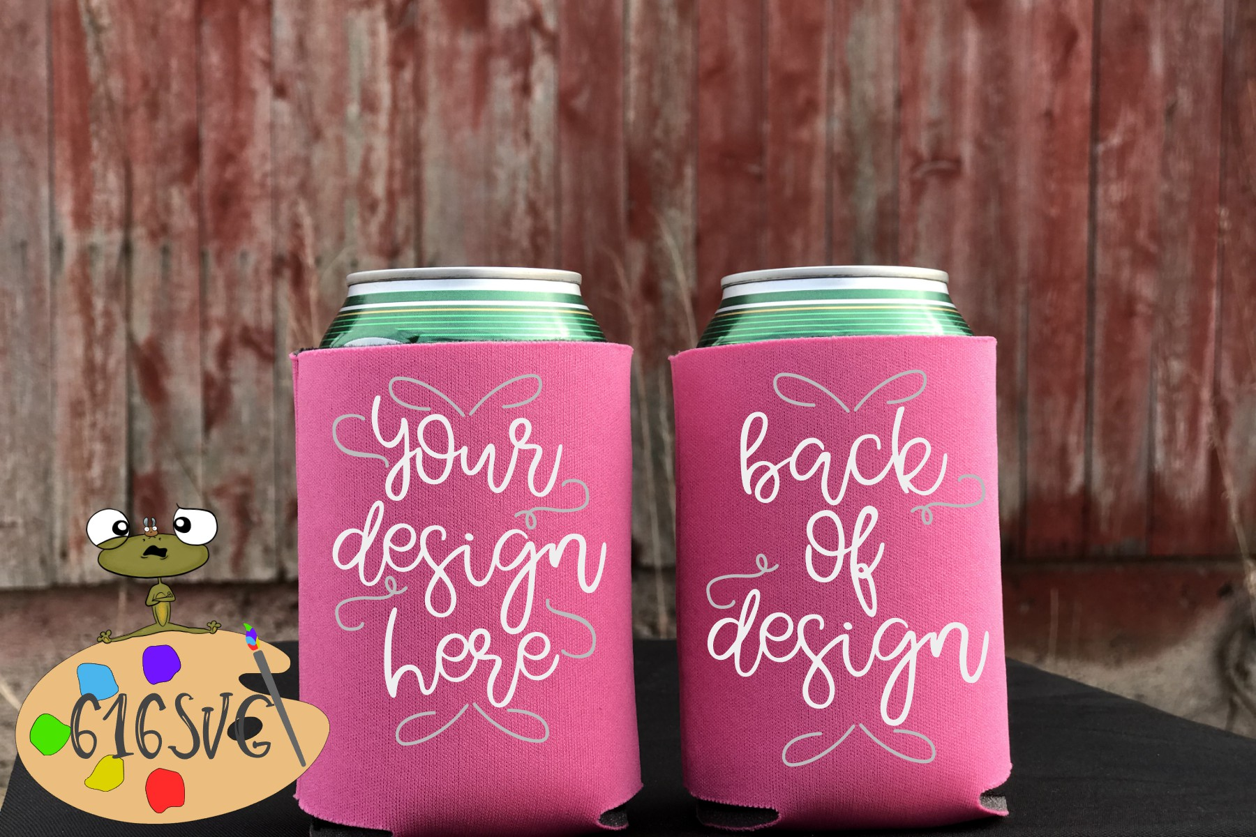 Neon Pink Can Cooler Mockup example image 1