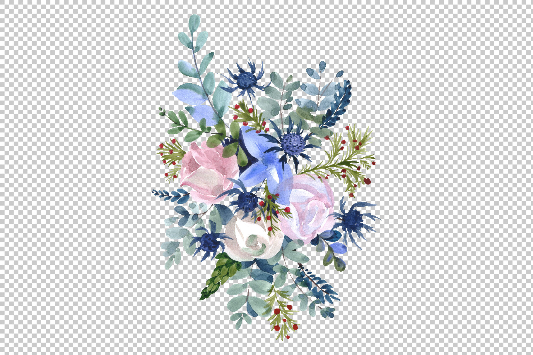 Bouquets with wildflowers, Roses, leaves Watercolor png example image 4