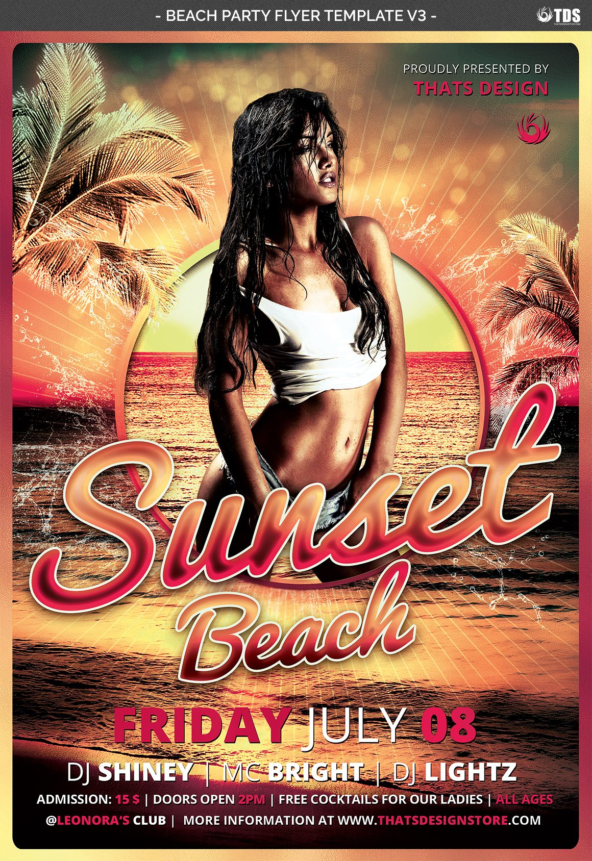 Beach Party Flyer Template V3 example image 4
