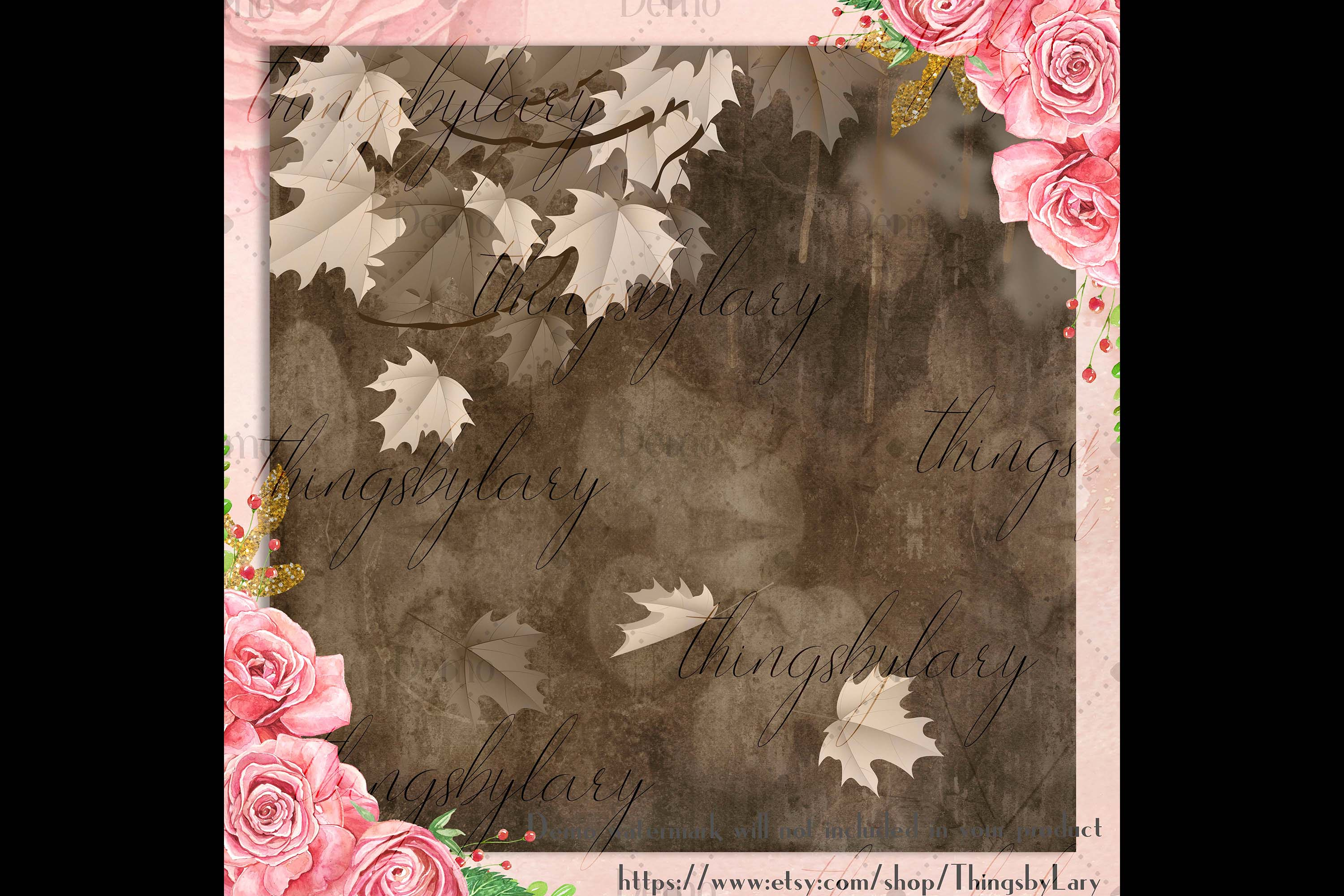 18 Autumn Leaves Digital Papers, thanksgiving fall wedding example image 3
