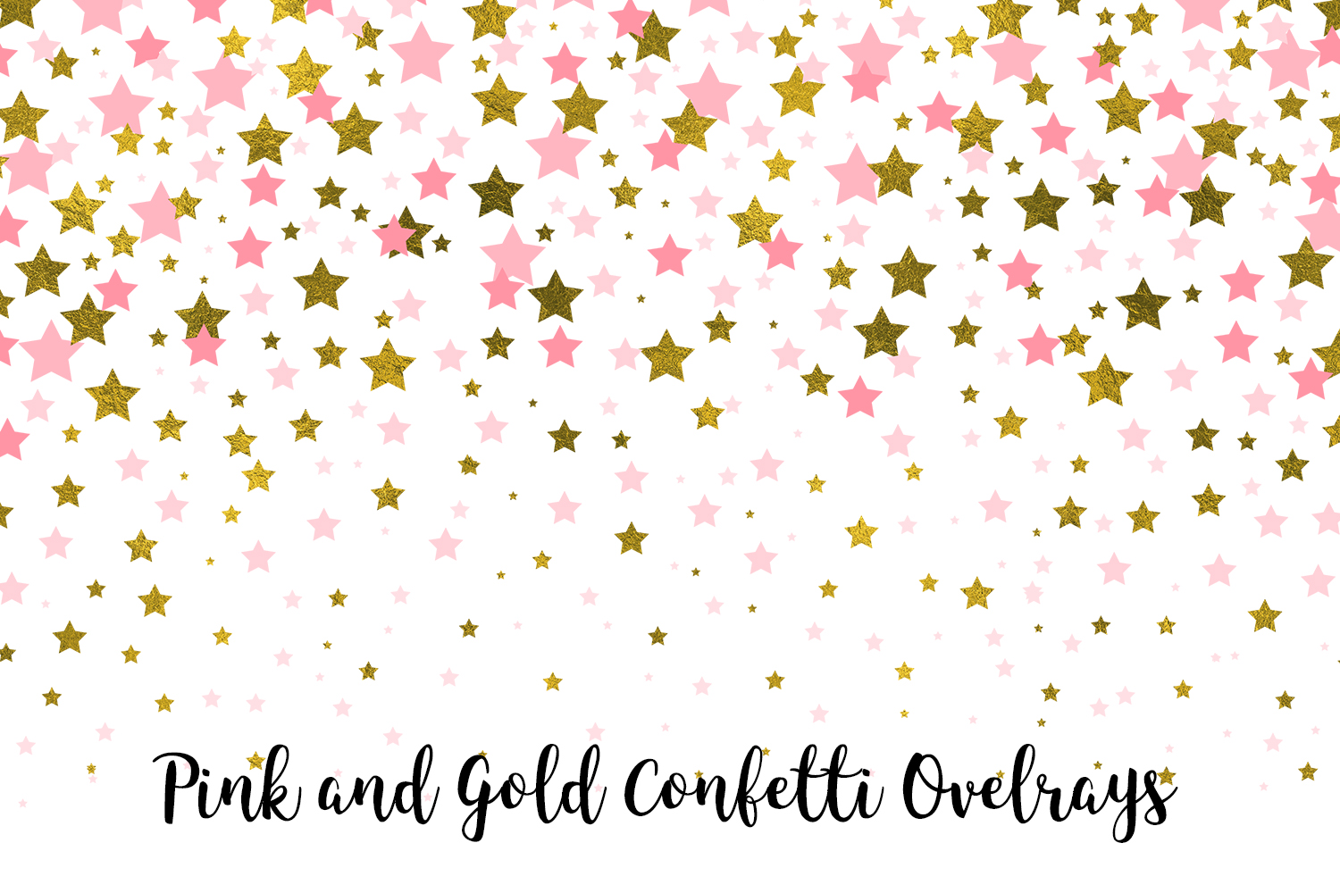 Pink and Gold Confetti Overlays, Transparent PNGs example image 2