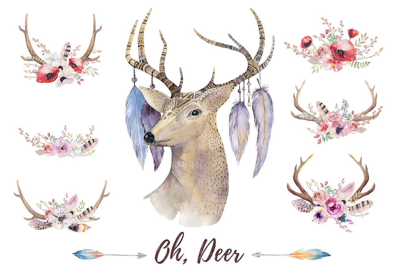 Watercolor deer and horns. Bohemian example image 5