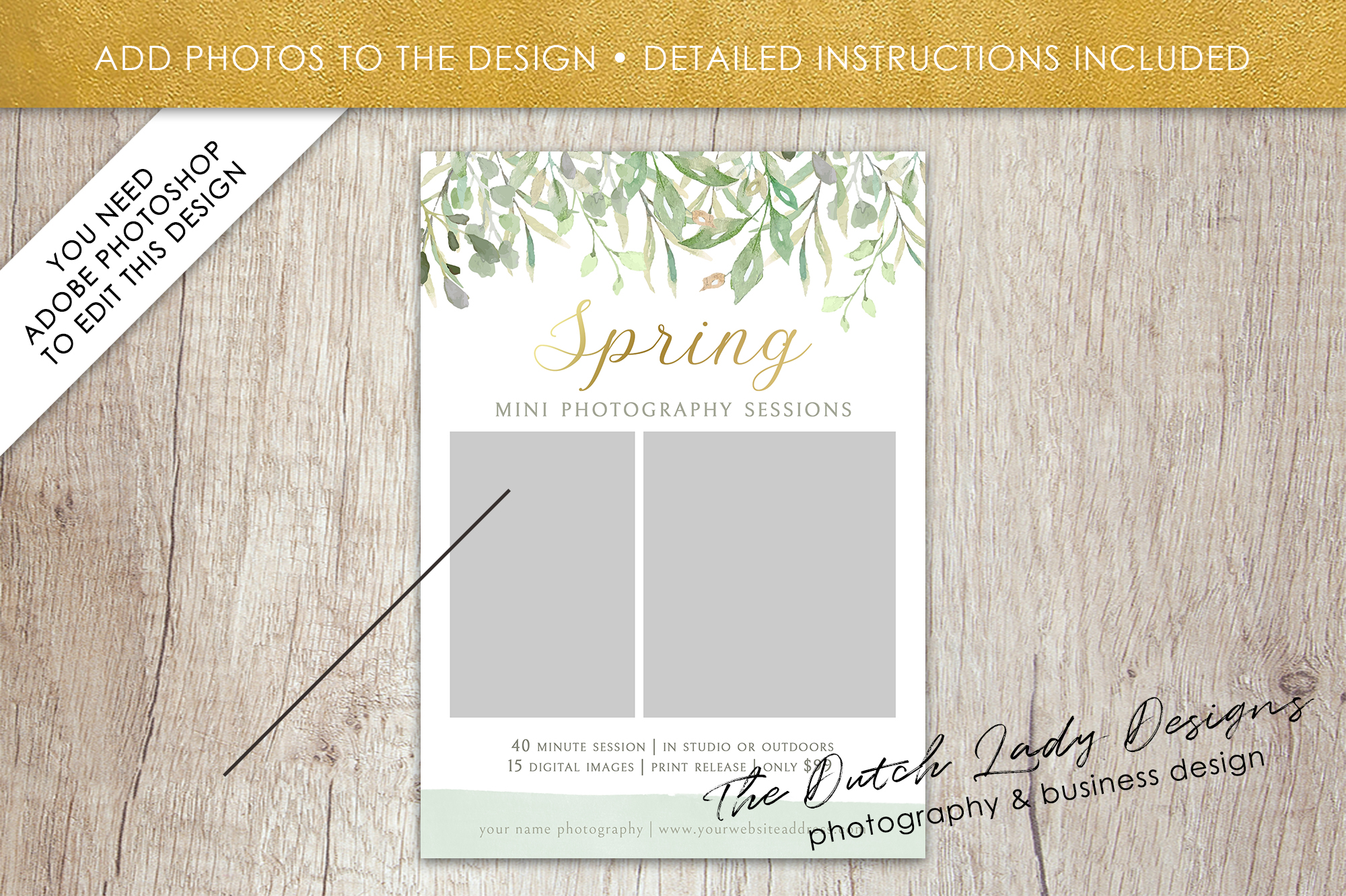 PSD Spring Photo Session Card Template - Design #36 example image 2