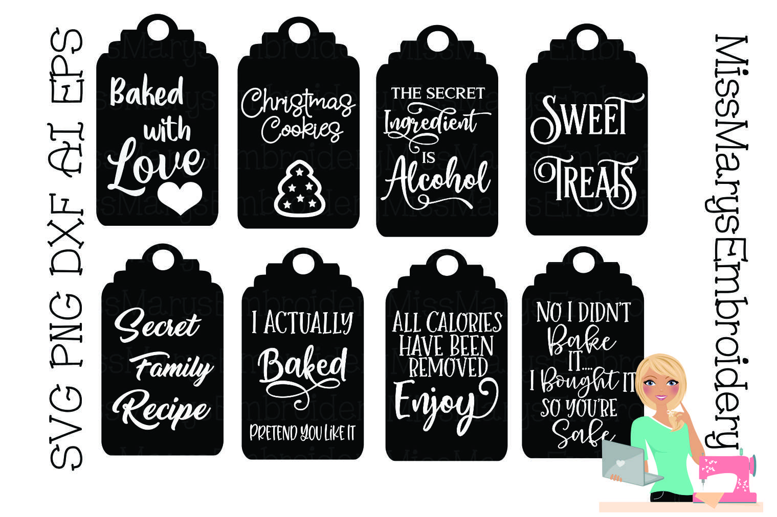 Funny Food Gift Tags SVG Cutting File PNG DXF EPS AI example image 1