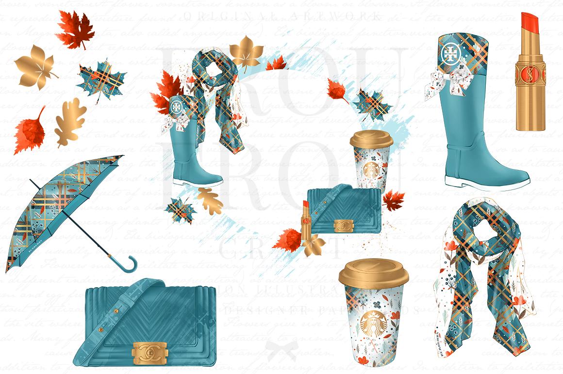 Fall Autumn Leaves Fashion Gold Lipstick Clip Art example image 4