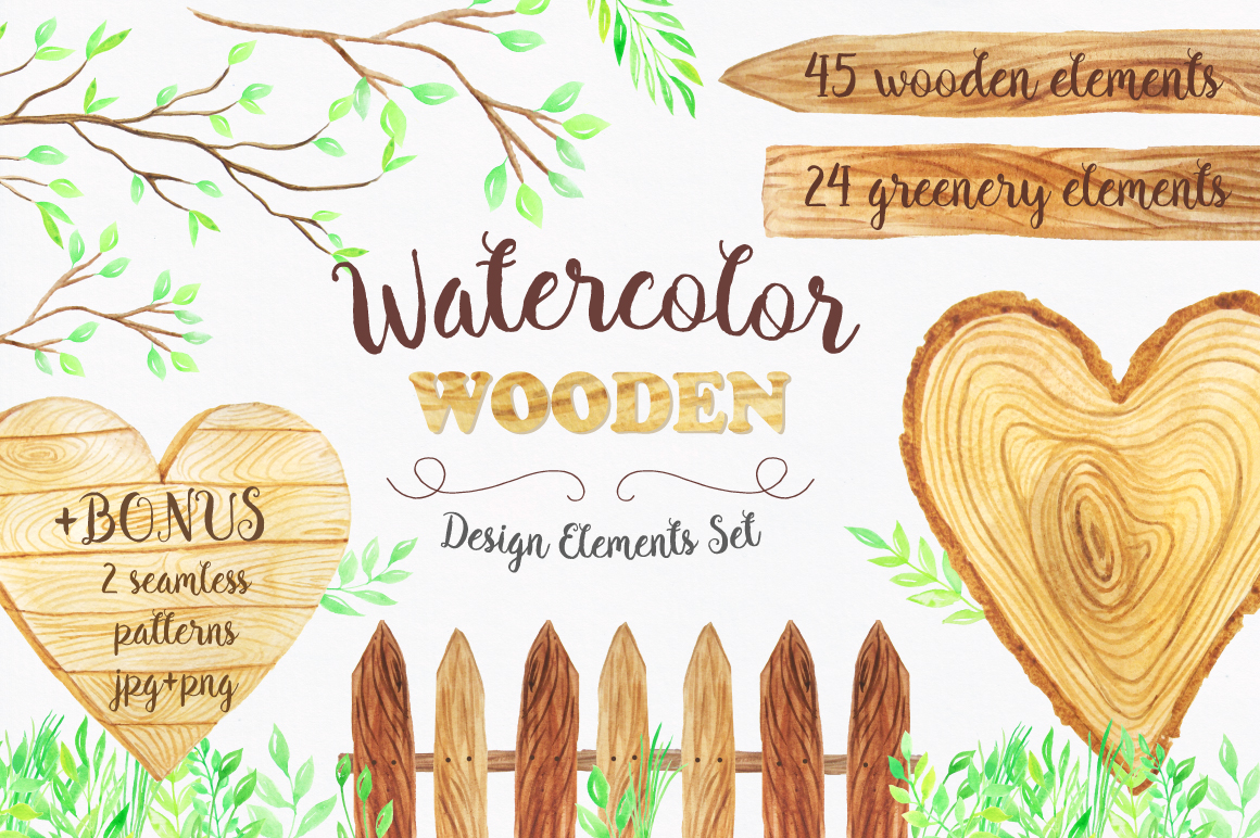 Watercolor Wooden Design Set example image 1