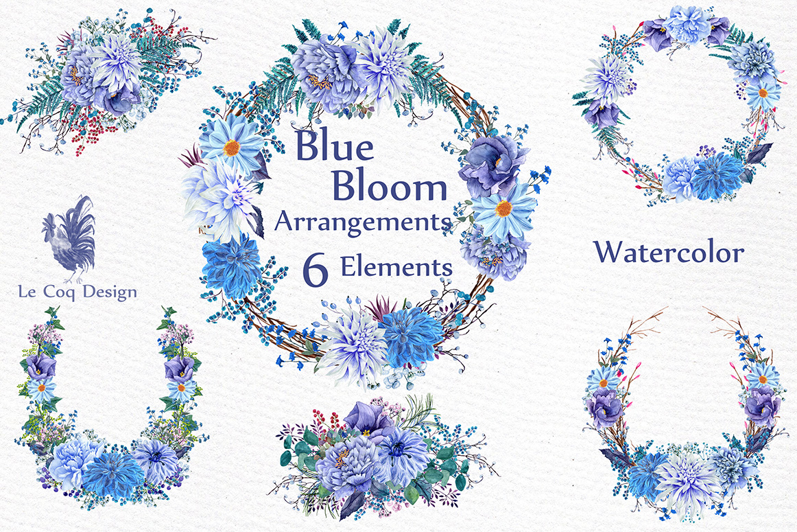 Watercolor wedding wreaths clipart example image 1