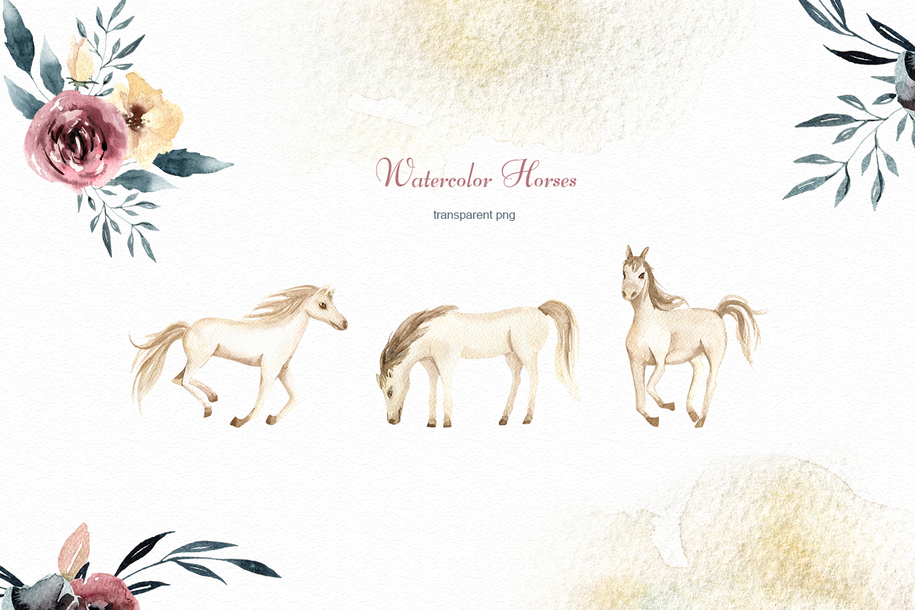 Watercolor Horse and flowers Flowers compositions Burgundy example image 2