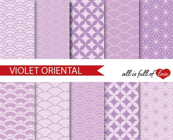 Japanese Graphics Oriental Background Patterns in Lilac example image 1