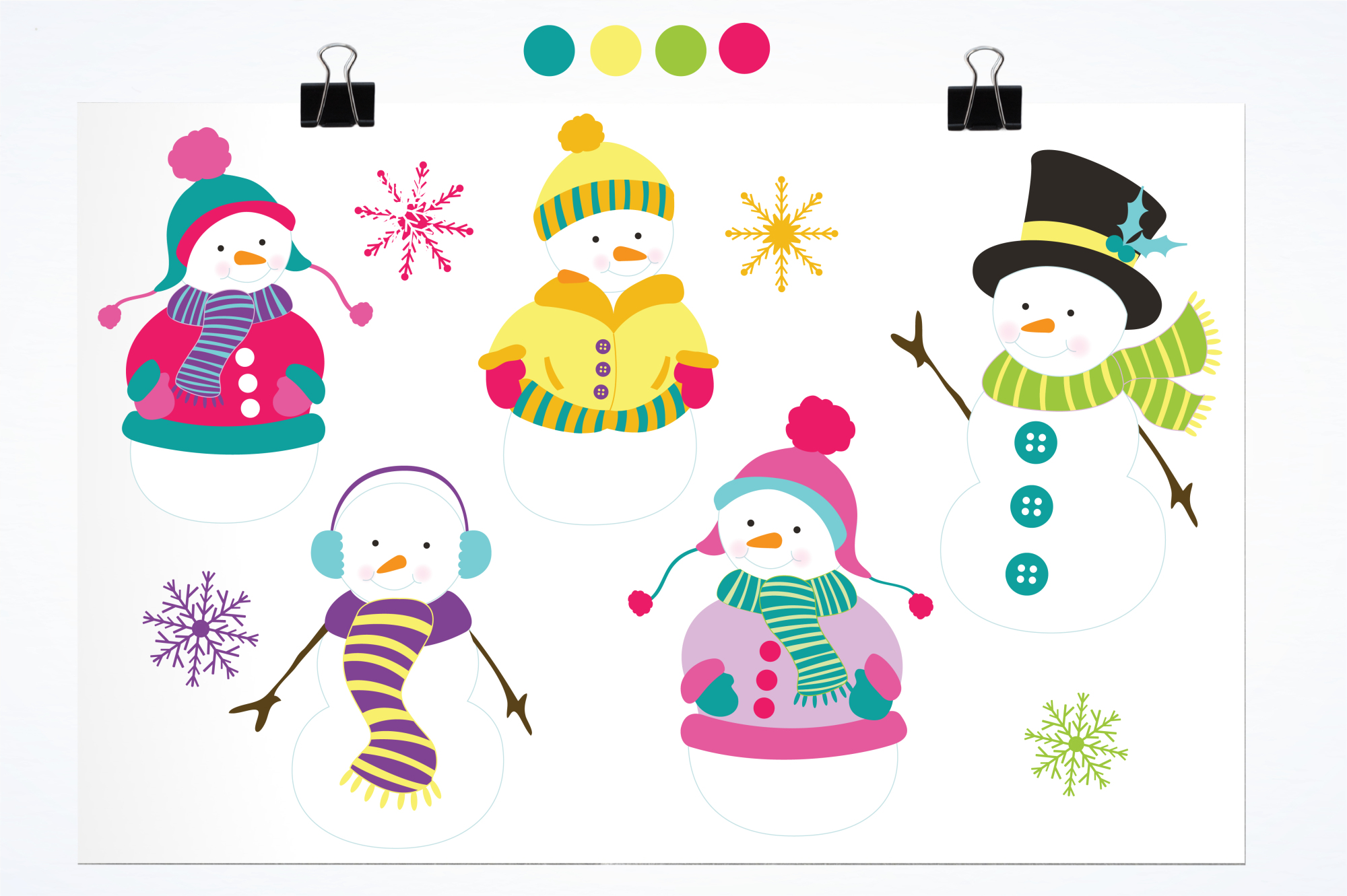 Colorful Snowmans graphics and illustrations example image 2