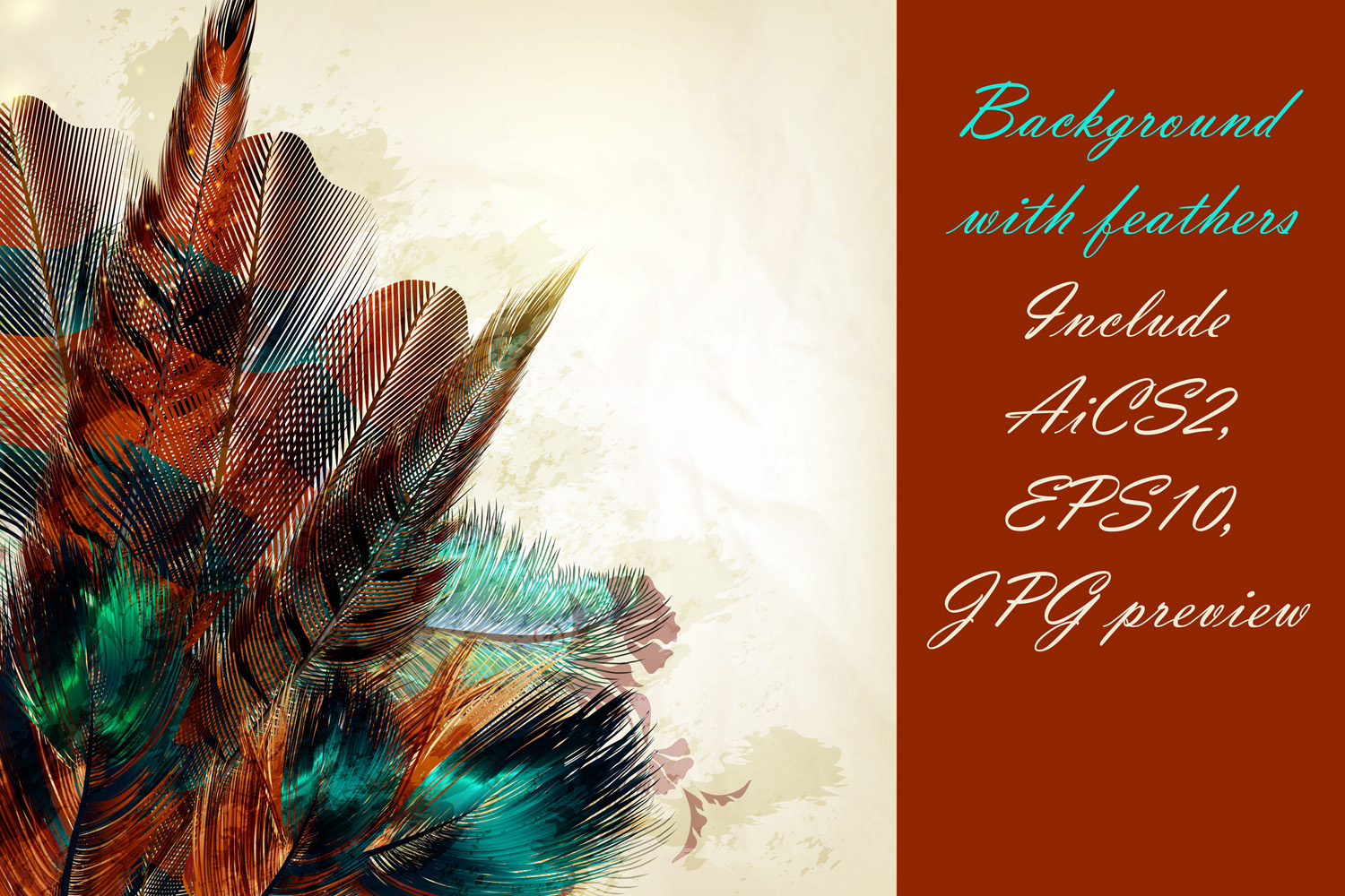 Colorful feather bundle. Vector illustrations and elements example image 13
