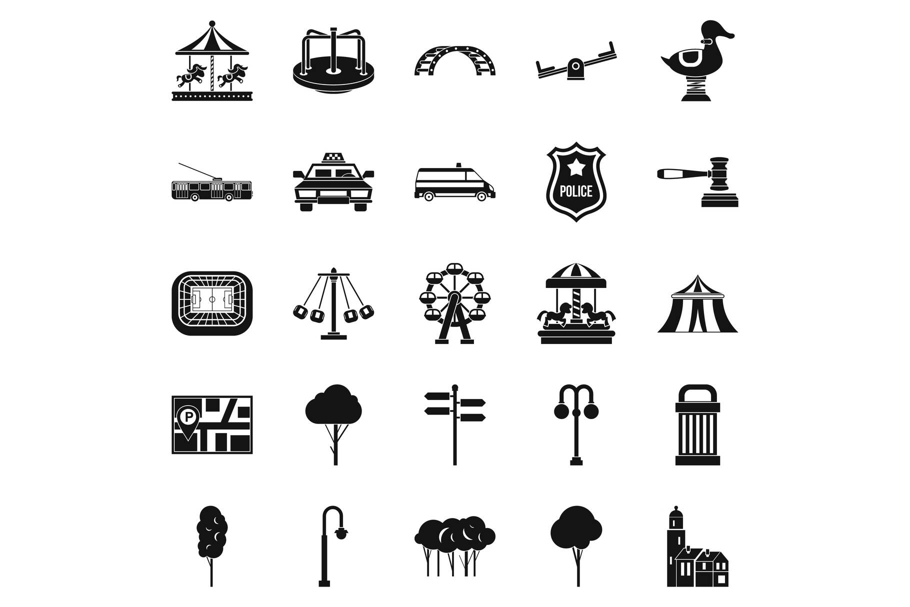 Urban recreation park icons set, simple style example image 1