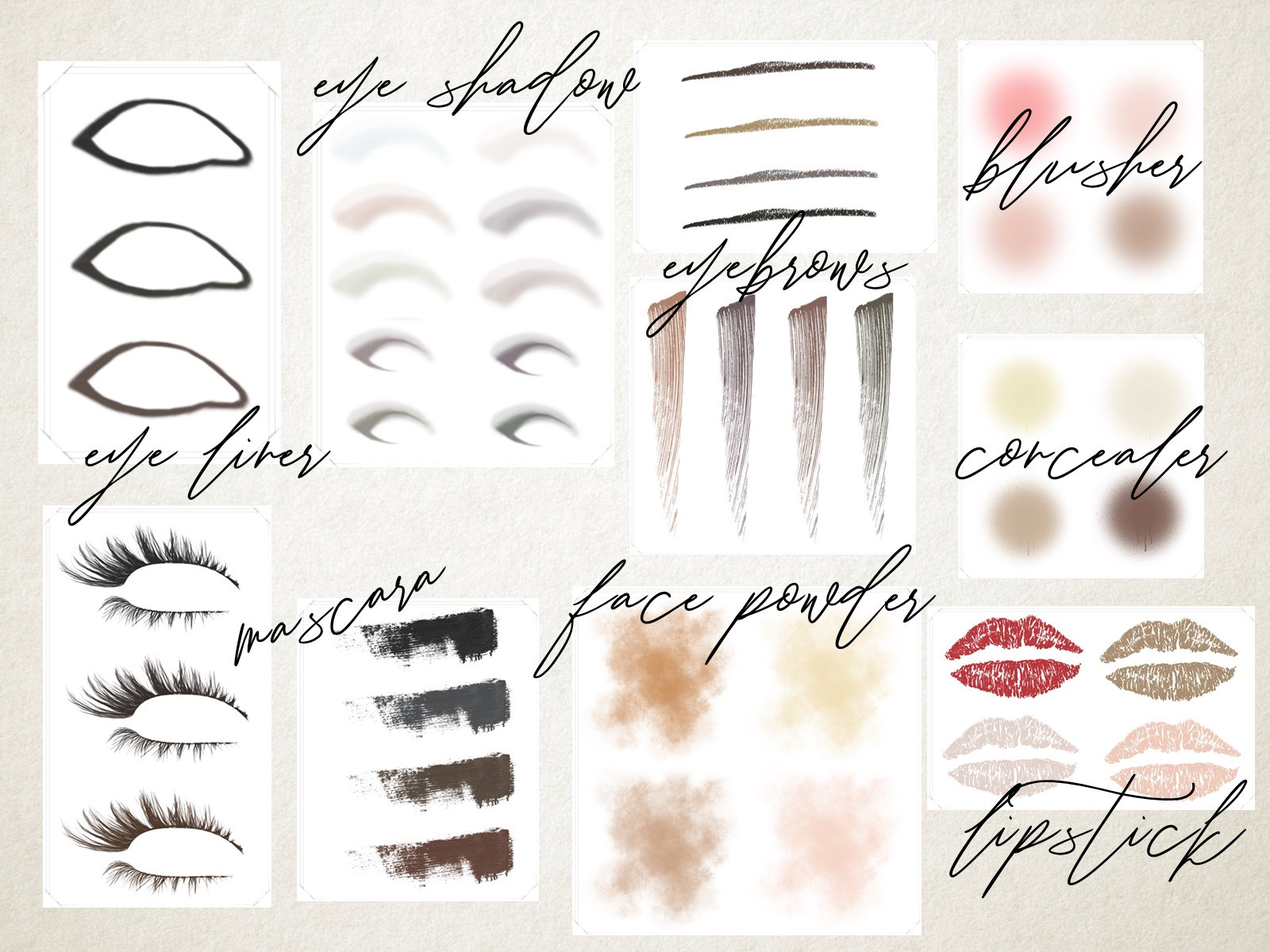 Makeup swatches collection clipart example image 2