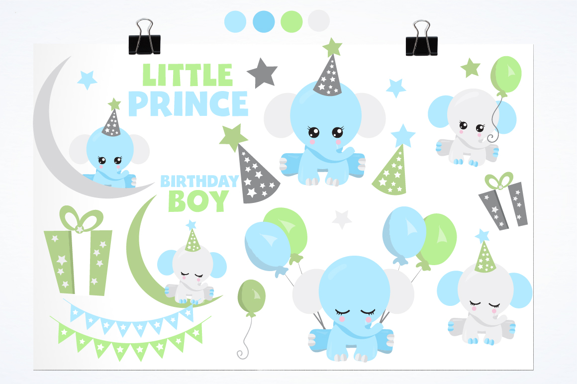 Baby Boy Elephants graphics and illustrations example image 2
